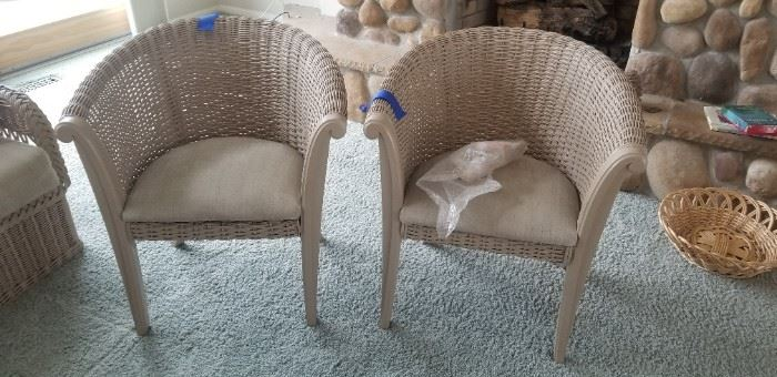 Two rattan side chairs $45 each