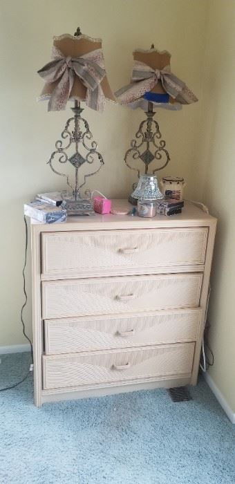 Matching tall dresser $50; great pair of Shabby Chic boudoir lamps lamps $3...
