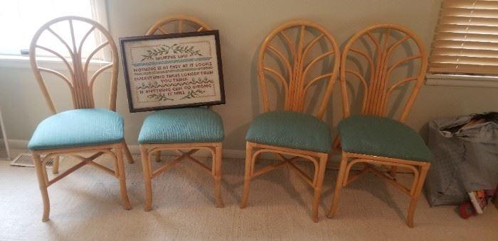 Set of 4 rattan chairs $20 each; sampler $25