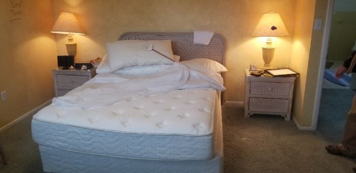 Wicker by Henry Link/Lexington bed with matching nightstands $250 all